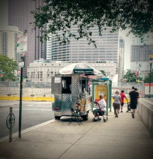 A food cart like the one where Alice buys soft pretzels